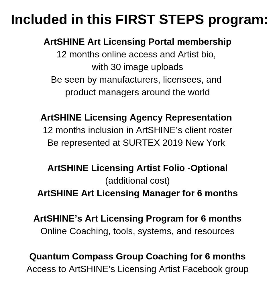 * FIRST STEPS program- 960 W X100 Hl